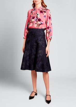 Erdem Floral Print Midi Skirt