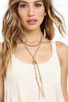LuLu*s Full Gear Gold and Beige Layered Choker Necklace