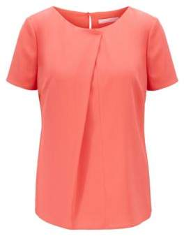 BOSS Short-sleeved top in crinkle crepe with pleated front