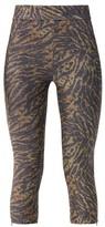 Ganni Zipped-hem Tiger-print Lurex Leggings - Womens - Leopard