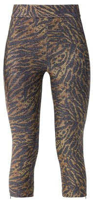 Ganni Zipped-hem Tiger-print Lurex Leggings - Womens - Leopard