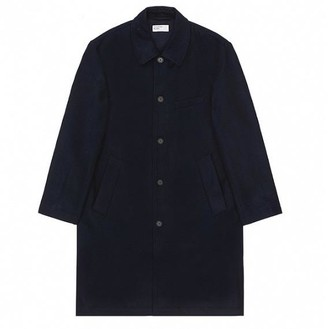 Universal Works Overcoat Jacket In Navy Melton Wool - M