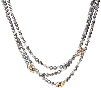 Alexis Bittar Stone Studded Crumpled Triple Strand Beaded Necklace