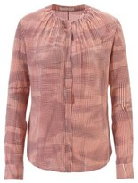 HUGO BOSS - Lightweight blouse in pure silk with irregular check - Patterned