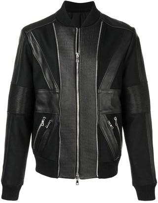 Balmain Zip Up Leather Bomber Jacket
