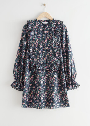 And other stories Ruffled Embroidered A-Line Mini Dress