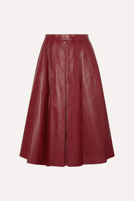 Alexander McQueen Pleated Leather Skirt - Red