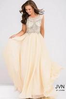 Jovani Sheer Neckline Embellished Bodice Chiffon Dress JVN37227