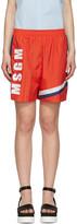 MSGM Red Colorblock Logo Shorts