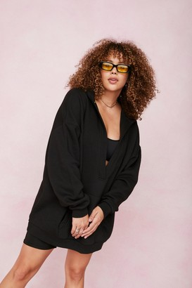 Nasty Gal Womens Plus Size V Neck Oversized Hoodie - Black