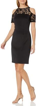 SL Fashions Women's Floral Lace Sheer Yoke Cold Shoulder Sheath Dress