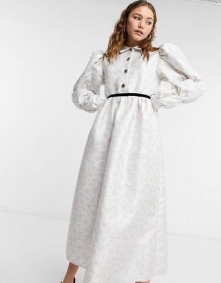 Sister Jane midi smock dress in cream jacquard