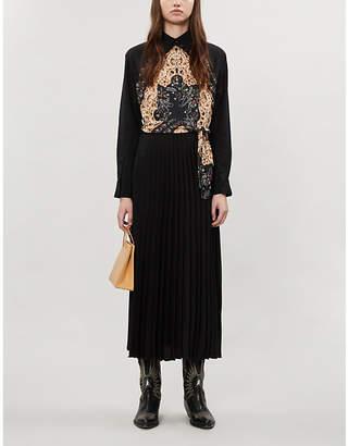Sandro Graphic-print woven midi dress
