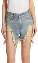 R 13 Shredded High-Waist Denim Shorts