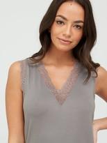 Very Lace Trim Vest & 3/4Trouser Pyjamas- Charcoal