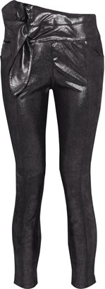 IRO Alpen Knotted Coated Metallic Leather Skinny Pants