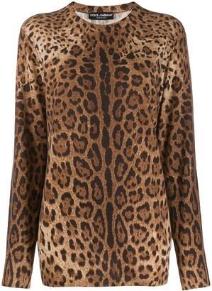 Dolce & Gabbana Cashmere Animal Print Sweater