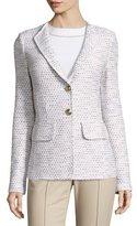 St. John Caillou Tweed Rever-Collar Blazer, Sand/Multi