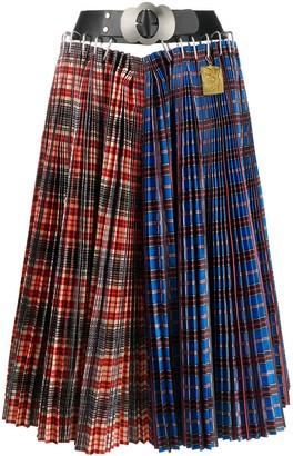 Chopova Lowena Contrast Plaid Midi Skirt