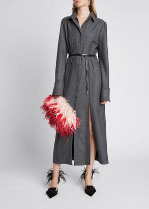 Altuzarra Pintucked Leather Belted Midi Dress