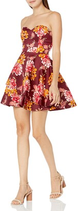 Bee Darlin Women's Floral Satin Tube Party Dress