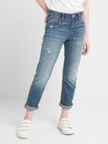 Distressed girlfriend jeans