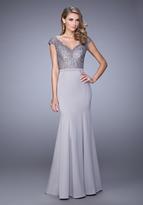 La Femme 21702 Laced V-Neck Trumpet Dress