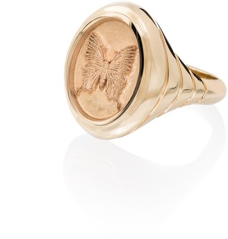 Retrouvaí 14kt yellow gold Grandfather butterfly signet ring