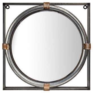 American Art Decor Antiqued Metal Framed Wall Mirror, 17""
