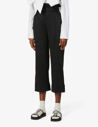 Simone Rocha Paperbag-waist high-rise stretch-wool trousers