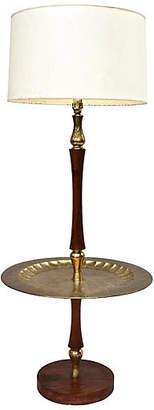 One Kings Lane Vintage Midcentury Teak & Brass Floor Table Lamp - Cannery Row Home