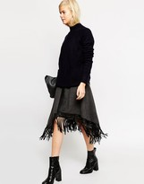 Asos Premium Midi Skirt with Fringed Wrap