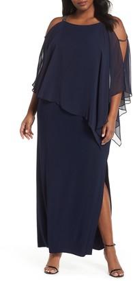 Xscape Evenings Chiffon Overlay Split Sleeve Gown