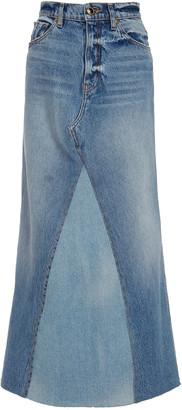 KHAITE Magdelena Two-Tone Denim Maxi Skirt