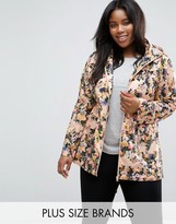 Brave Soul Plus Festival Trench In Floral Print