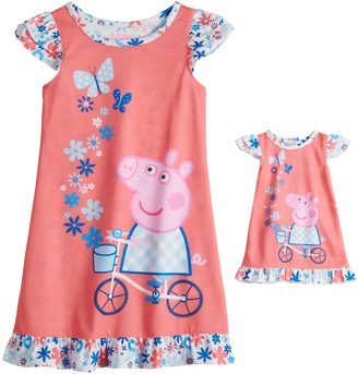 Peppa Pig Toddler Girl Night Gown & Doll Gown Set