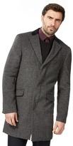 Jeff Banks Big And Tall Dark Grey Wool Blend Epsom Coat