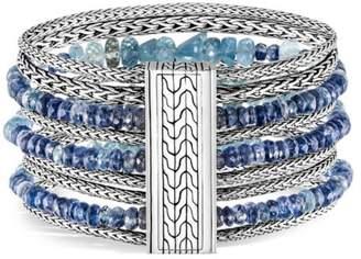 John Hardy Classic Chain Silver, Aquamarine & Kyanite Multi-Row Bracelet
