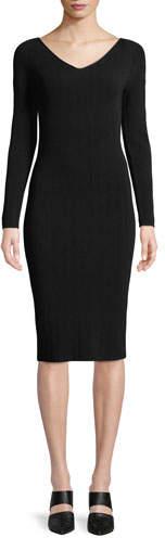 Vince Ribbed V-Neck Long-Sleeve Midi Dress