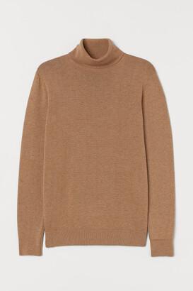 H&M Fine-knit Turtleneck Sweater - Beige