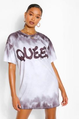 boohoo Tie Dye Queen Slogan Oversized T Shirt Dress