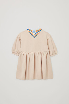 Cos Striped Organic Cotton Mix Jersey Dress