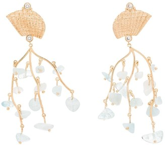 Apples & Figs Shell Crown 24kt gold-plated aquamarine earrings