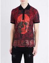Philipp Plein Skull-print Cotton-jersey Polo Shirt