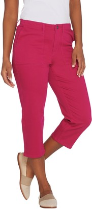 Susan Graver Petite Stretch Twill Capris Jeans