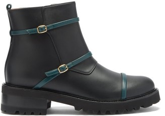Malone Souliers Brodie Bucked-strap Leather Boots - Black Green