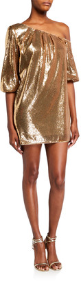 Aidan Mattox Sequin Cold-Shoulder Mini Dress