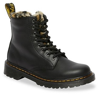Dr. Martens Little Girl's & Girl's Romario Leopard Interior Leather Combat Boots