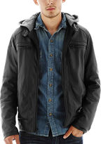 JCPenney Excelled Leather Excelled Faux-Leather Moto Jacket with Hood
