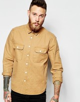 Asos Worker Shirt In Stone With Long Sleeves - Brown
